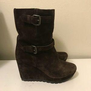 Prada wedge heel leather boots size 39.5